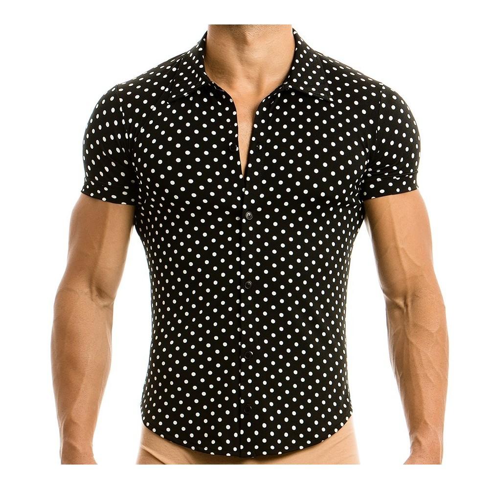Ανδρικό πουκάμισο πουά slim fit