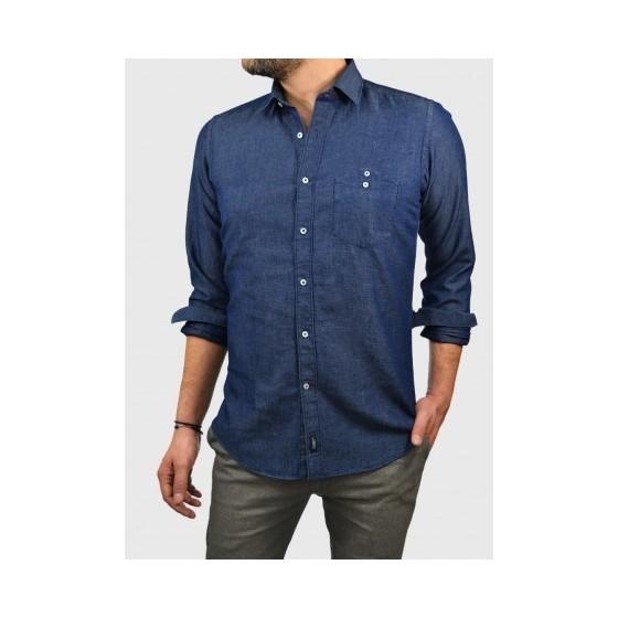 Ανδρικό τζιν λινό πουκάμισο