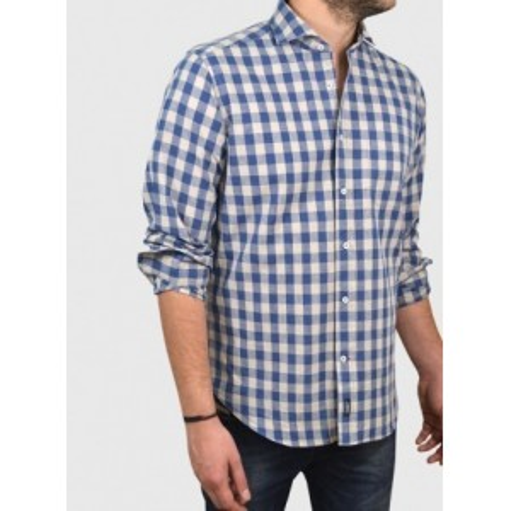 Man Cotton-linen plaid shirt