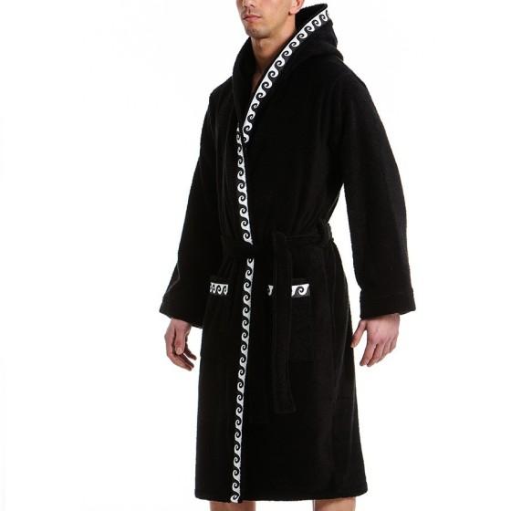 Ανδρικό πετσετέ μπουρνούζι μαύρο