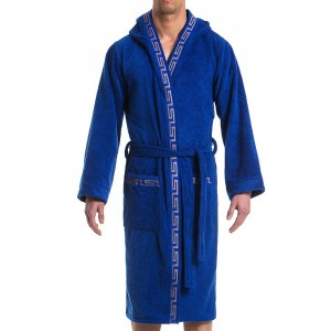 MEANDER BATH TOWEL ROBE - BLUE