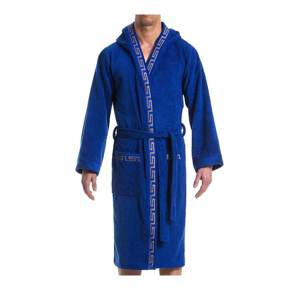 Ανδρικό πετσετέ μπουρνούζι μπλέ