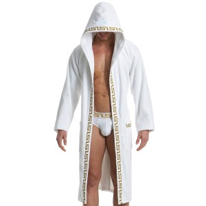 MEANDER BATH TOWEL ROBE - WHITE