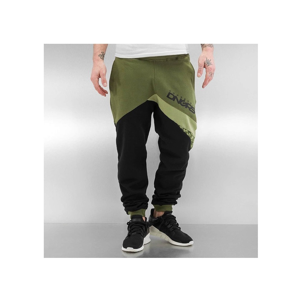 Sweat Pants in black / olive
