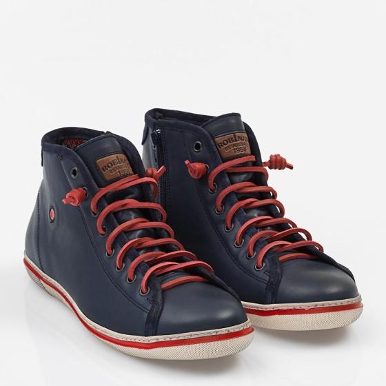 Ανδρικό δερμάτινο Sneakers Μπλέ
