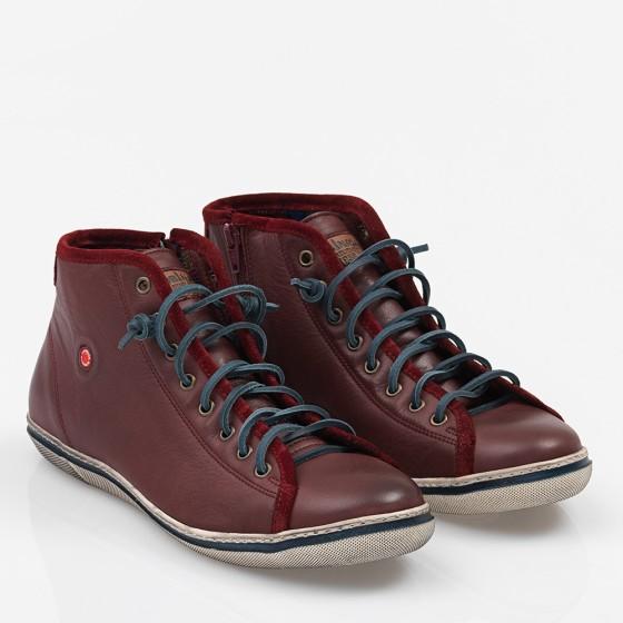 Ανδρικό δερμάτινο Sneakers Μπορντώ