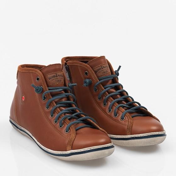 Ανδρικό δερμάτινο Sneakers Camel
