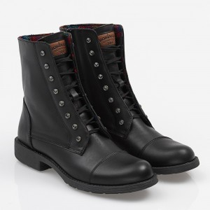 Women biker boot with strass Black