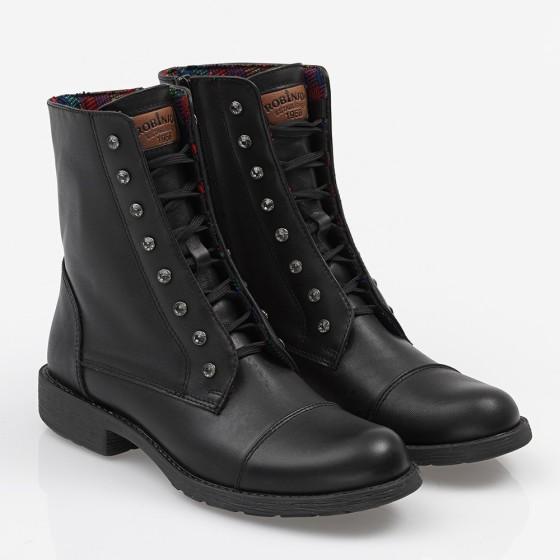 Women biker boot with strass Black
