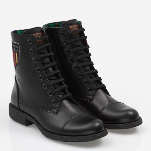 Women biker boot with laces Black