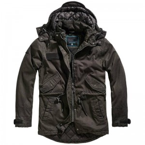 Men nile coated parka washed Black