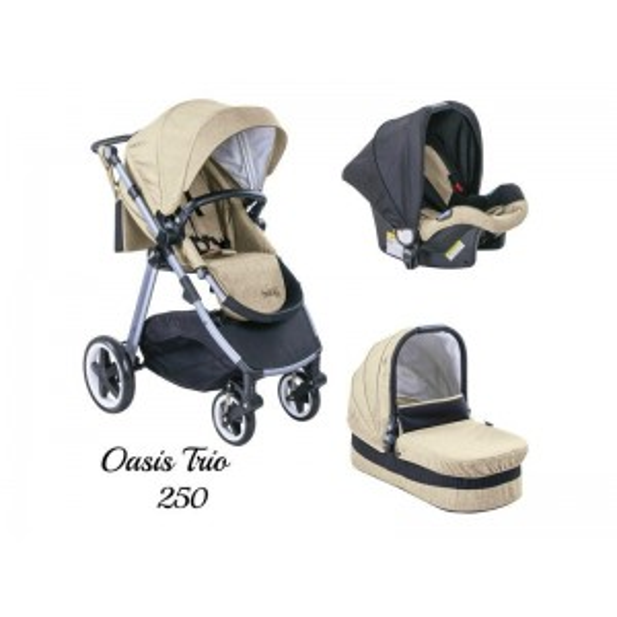 Παιδικό καρότσι JUST BABY OASIS 3 in 1 BEIGE Αναστρέψιμο με πόρτ μπεμπέ
