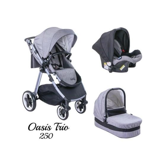 Παιδικό καρότσι JUST BABY OASIS 3 in 1 GREY Αναστρέψιμο με πόρτ μπεμπέ
