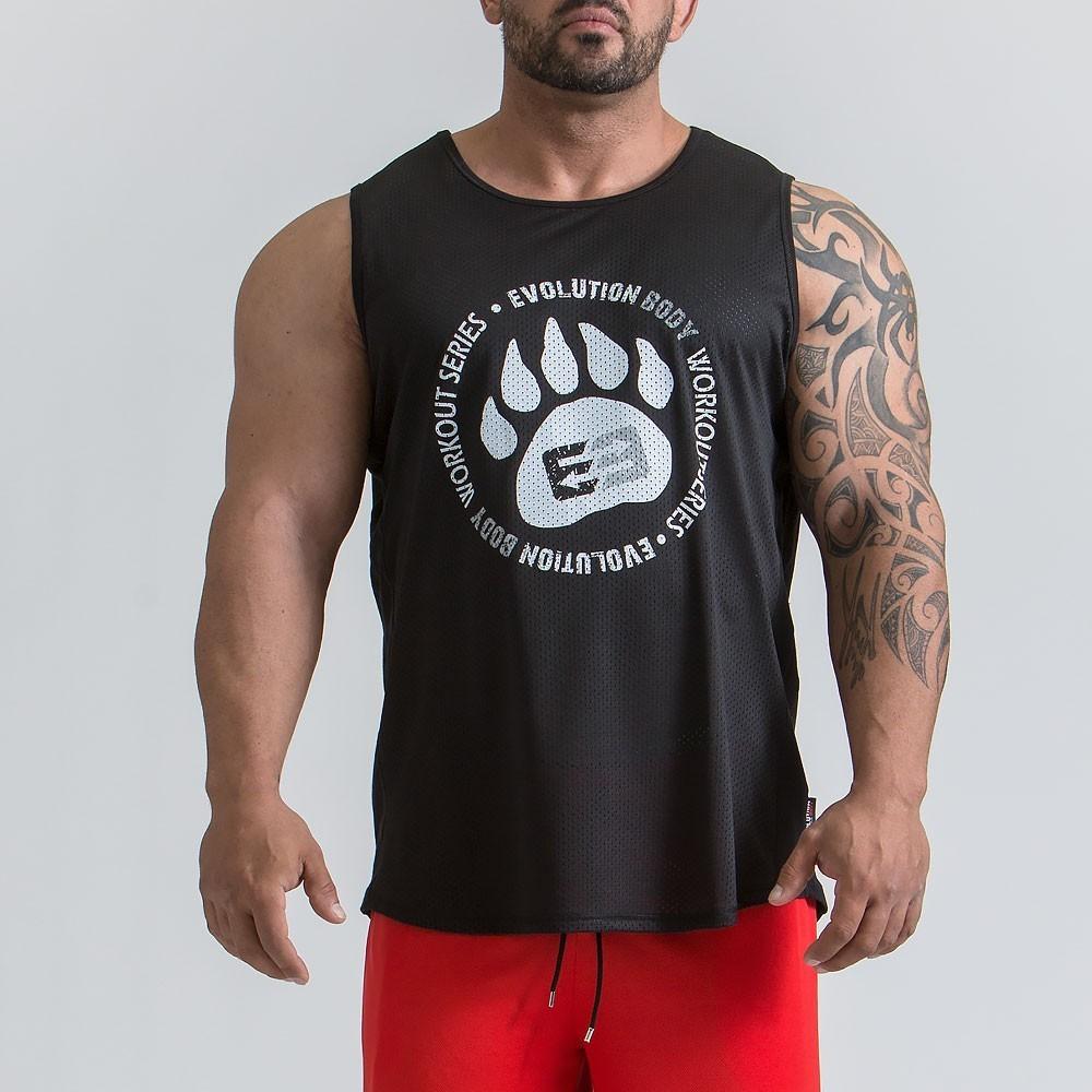 Ανδρικό αθλητικό αμάνικο T-shirt - Μαύρο