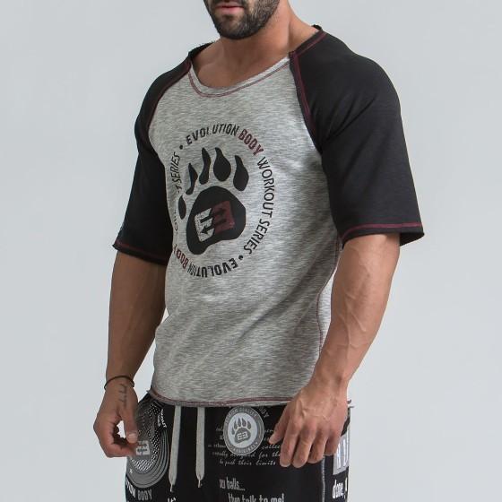Ανδρική αθλητική κοντομάνικη μπλούζα γυμναστηριου - Γκρί / Μαύρο