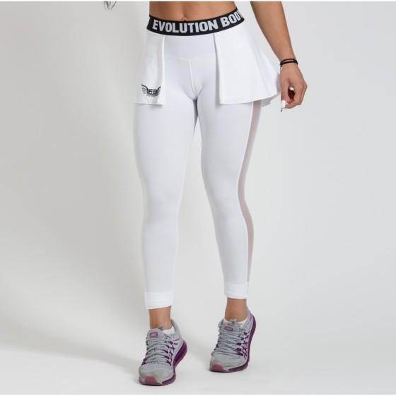 Κολάν γυναικείο με διαφάνια και φούστα Dri Fit - Λευκό