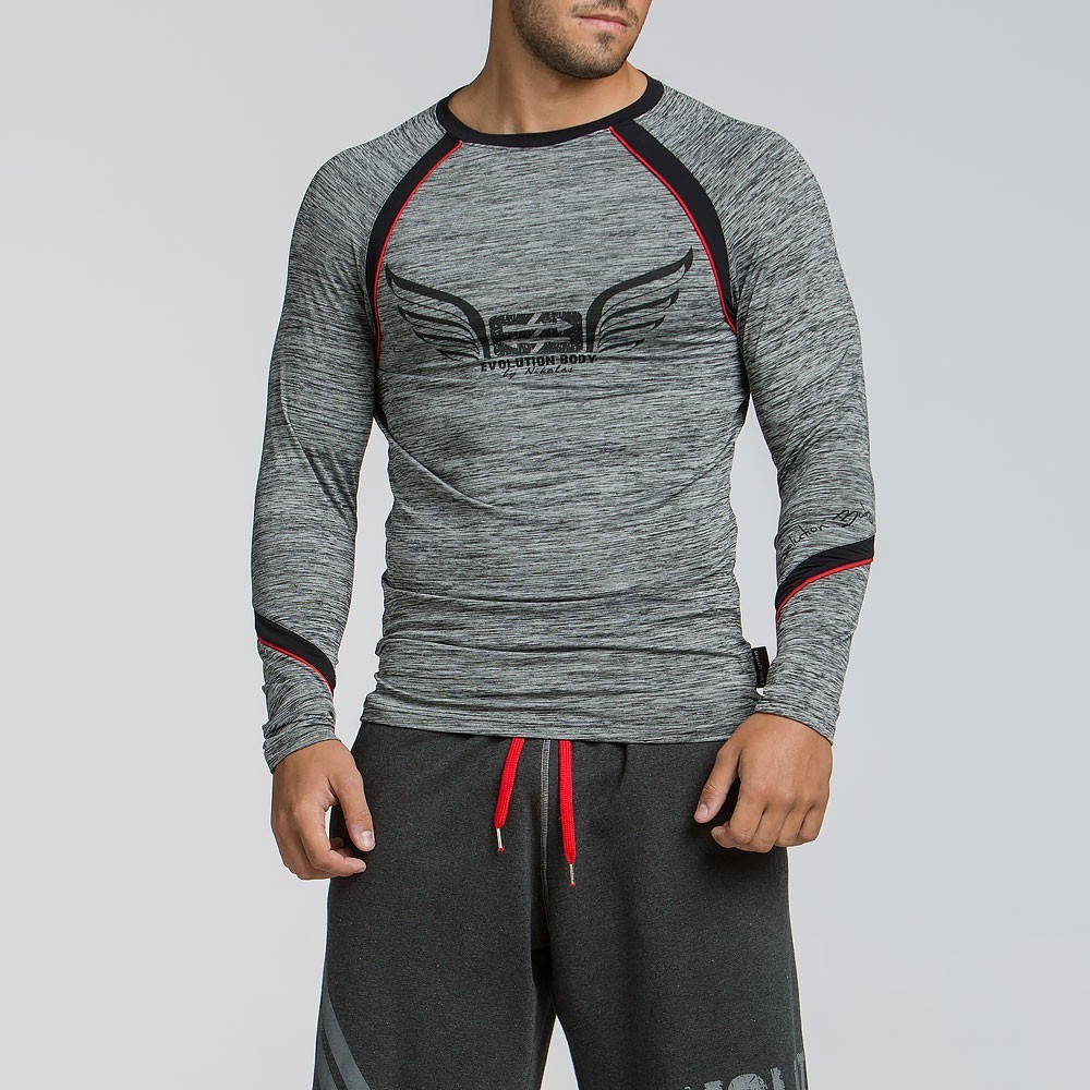 Ανδρική αθλητική μακρυμάνικη μπλούζα 2049GREY