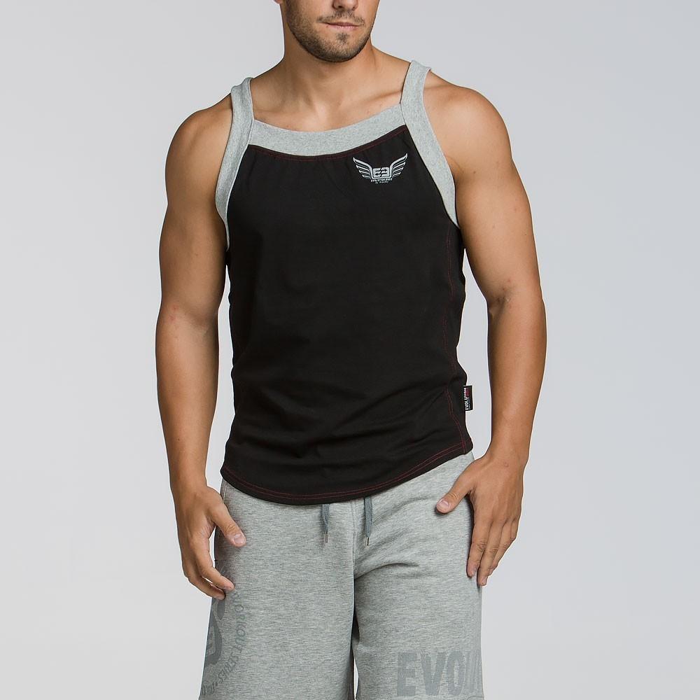 Ανδρικό αθλητικό τιραντά T-shirt - Μαύρο