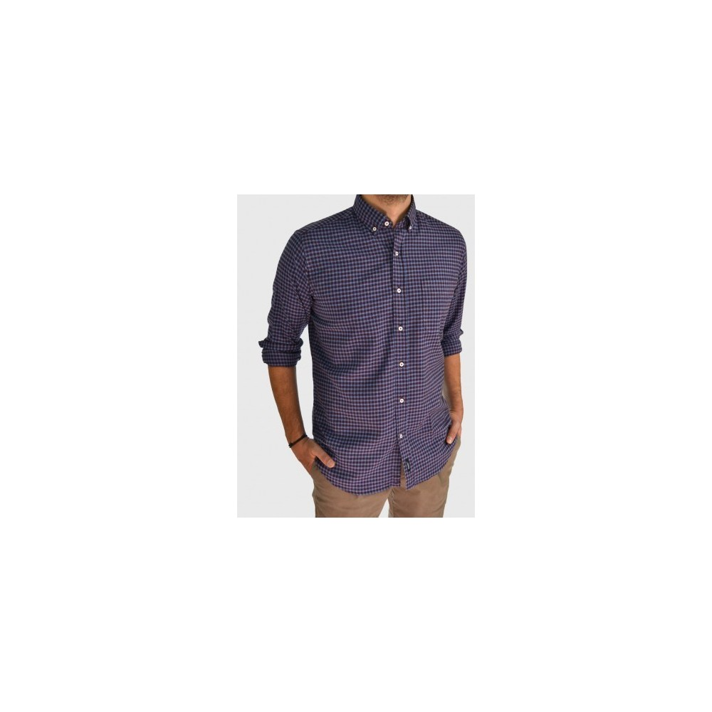 Καρό πουκάμισο wine red regular fit