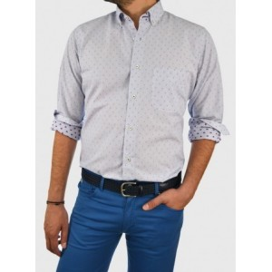 Men's striped and patterned shirt