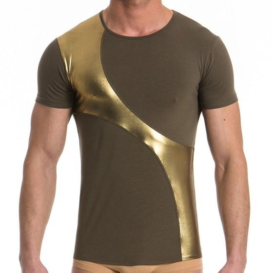 Ανδρικό t-shirt χακί / χρυσό 16741