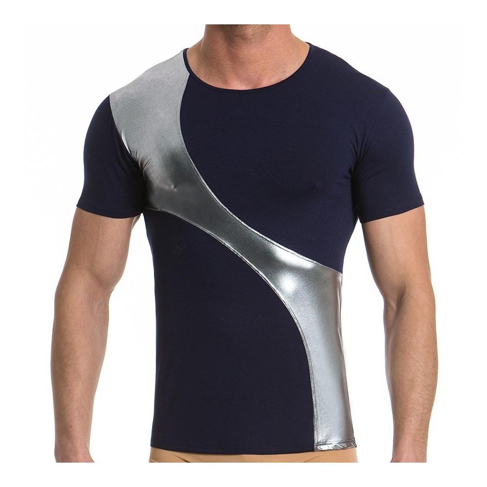 Ανδρικό t-shirt μπλέ / ασημί 16741