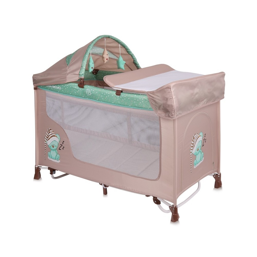 Baby Cot SAN REMO 2 Layers Plus Rocker BEIGE&GREEN SLEEPING BEAR