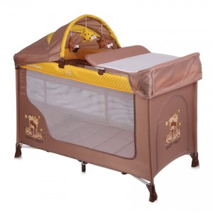 Baby Cot SAN REMO 2 Layers Plus BEIGE&YELLOW HAPPY FAMILY