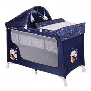 Baby Cot SAN REMO 2 Layers Plus BLUE GOOD NIGHT BEAR
