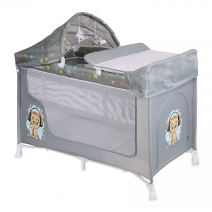 Baby Cot SAN REMO 2 Layers Plus GREY CUTE KITTEN