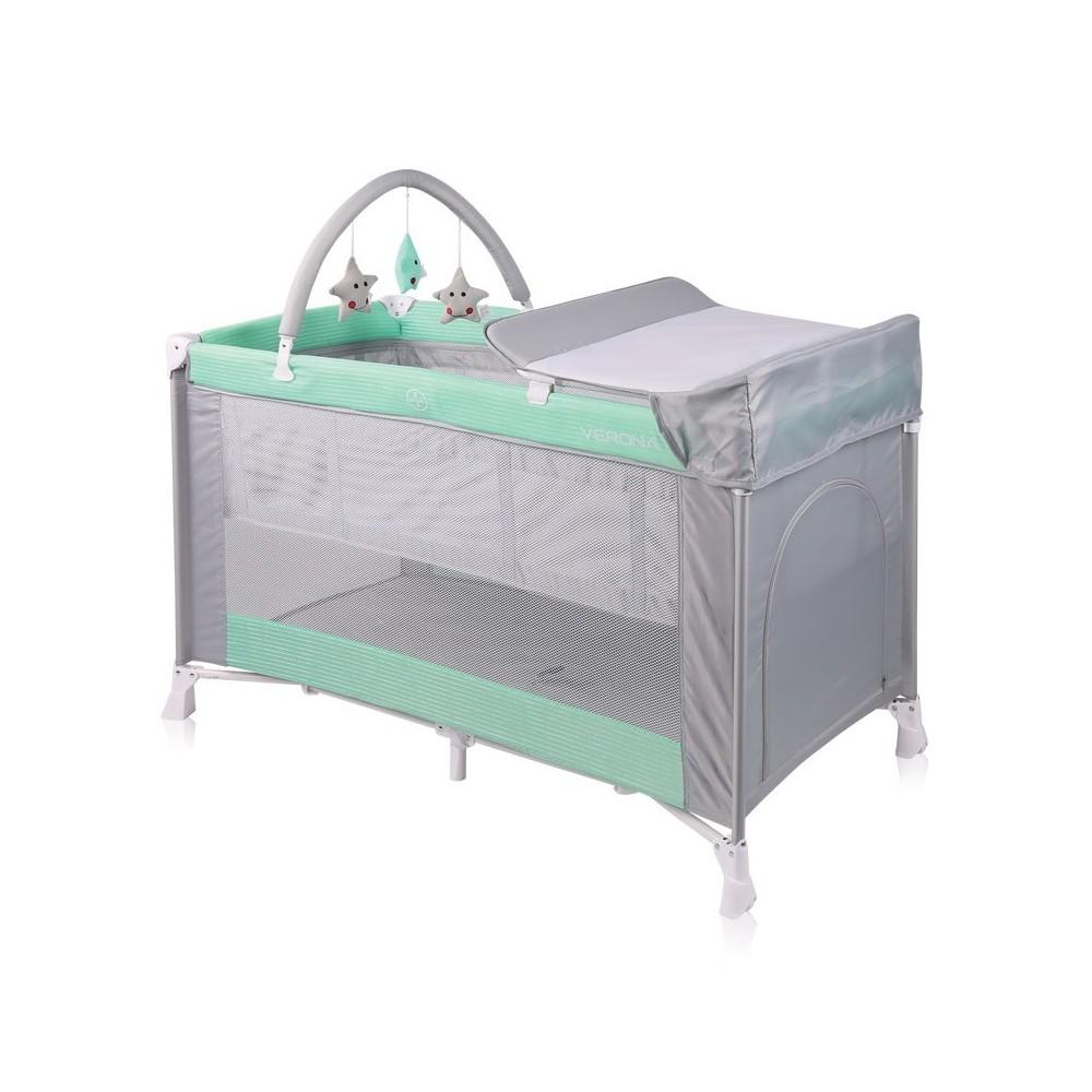 Baby Cot VERONA 2 Layers Plus GREEN&GREY