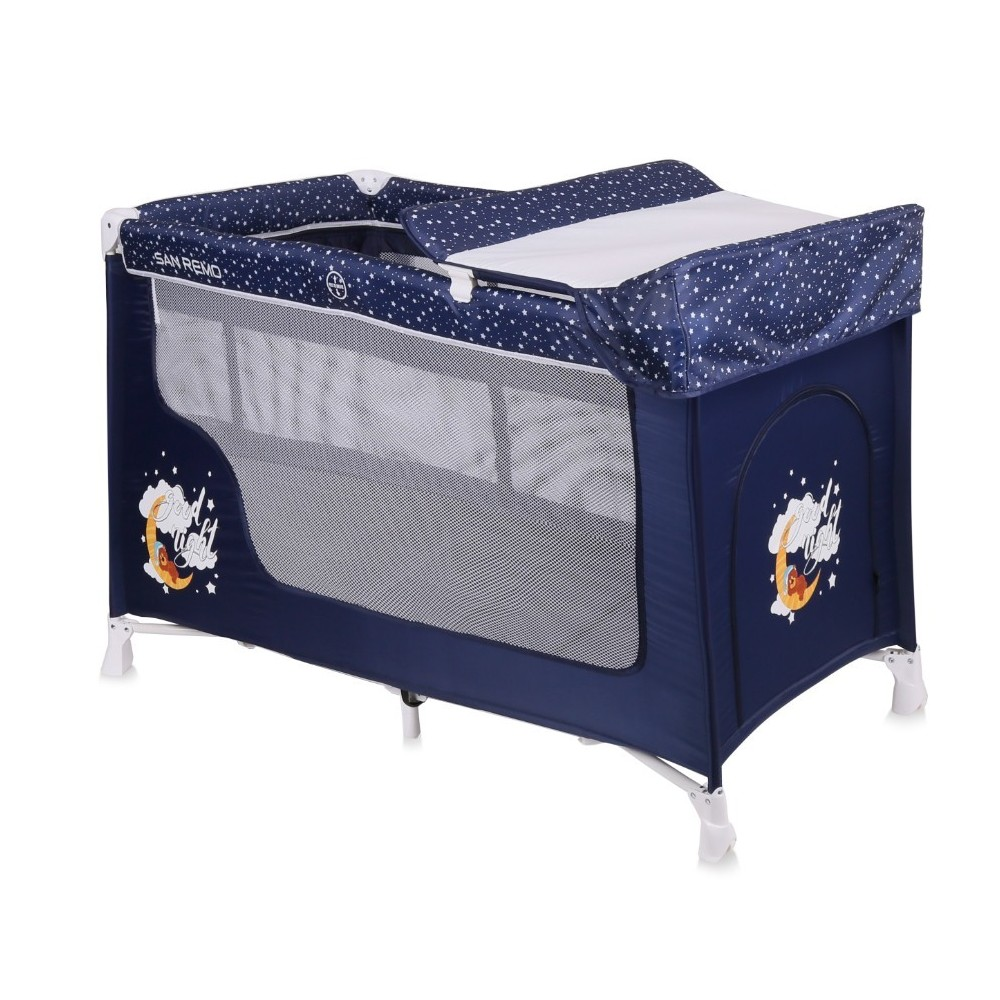 Baby Cot SAN REMO 2 Layers BLUE GOOD NIGHT BEAR