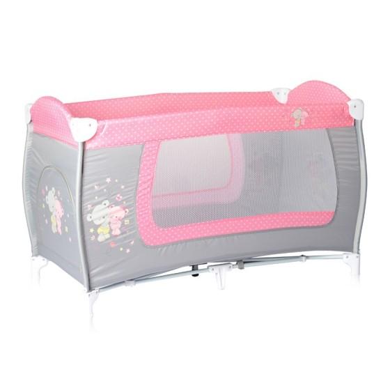 Παρκοκρέβατο DANNY 1 Layer Grey&Pink ZaZa