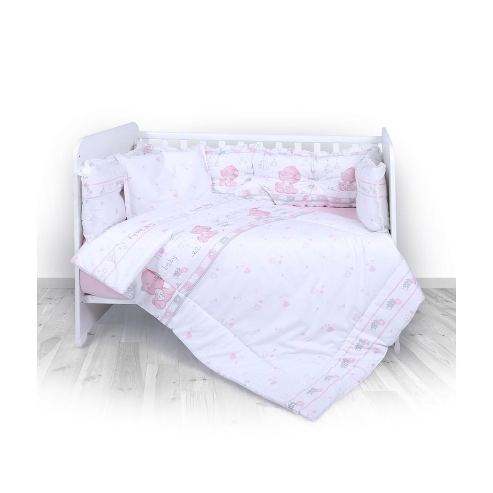 Set 6 Parts + Cot Bumper Big + Canopy Fabric My Baby Pink