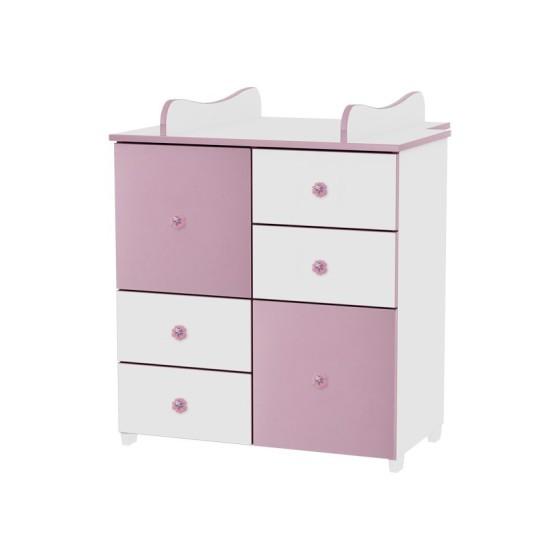 Βρεφική Συρταριέρα-Αλλαξιέρα μωρού White&Pink