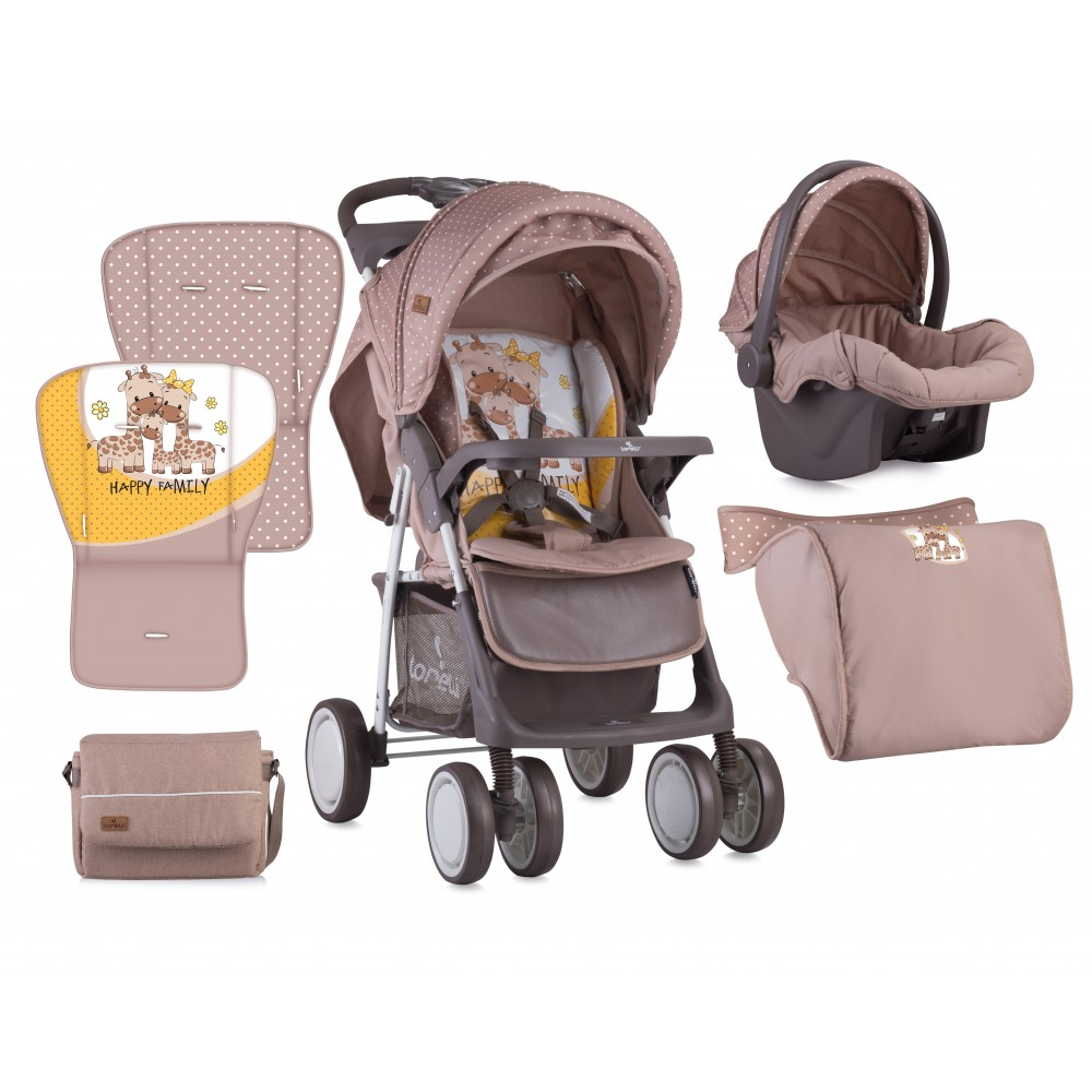 Stroller FOXY SET with summer basket BEIGE&YELLOW HAPPY FAMILY