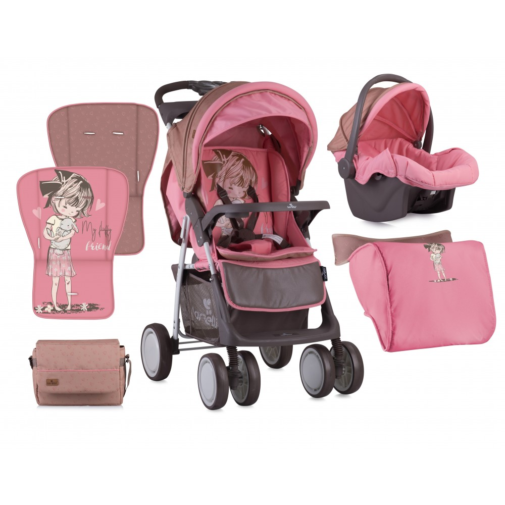 Stroller FOXY SET with summer basket BEIGE&PINK GIRL