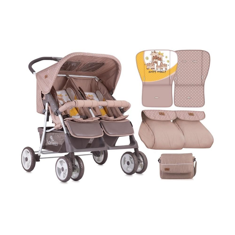 Stroller TWIN  BEIGE&YELLOW HAPPY FAMILY