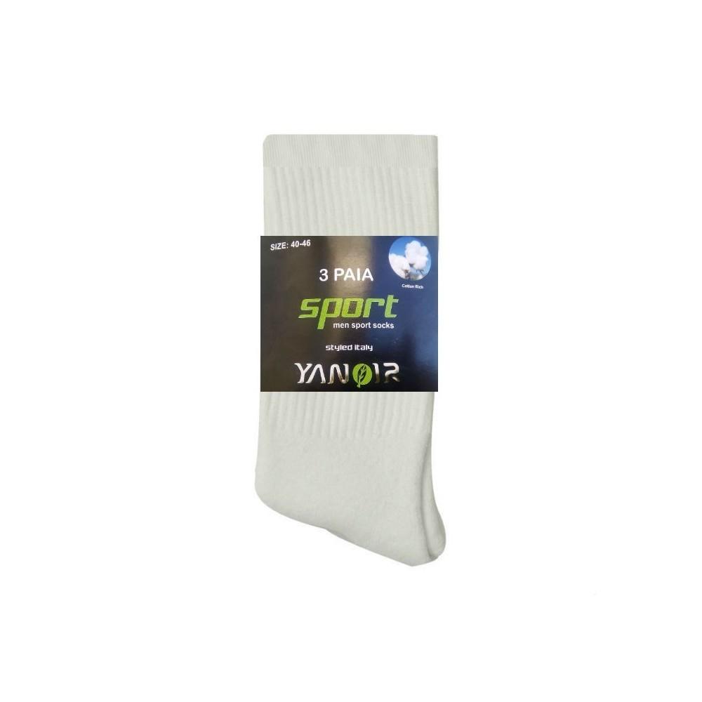 Σετ 3 ζευγάρια - Ανδρικές αθλητικές κάλτσες βαμβακερές λευκές - 2101-6000-1_3W