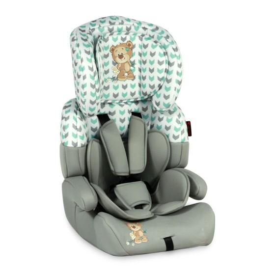 Children's Car Seat  JUNIOR PLUS Grey&Green Cute Bear