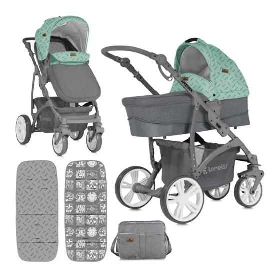 Children's Combi Stroller ARIZONA 3 in 1  Green&Grey with Car Seat
