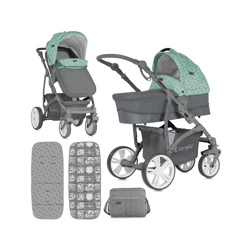 Παιδικό καρότσι ARIZONA 3 in 1  Green&Grey Αναστρέψιμο με πόρτ μπεμπέ και κάθισμα αυτοκινήτου