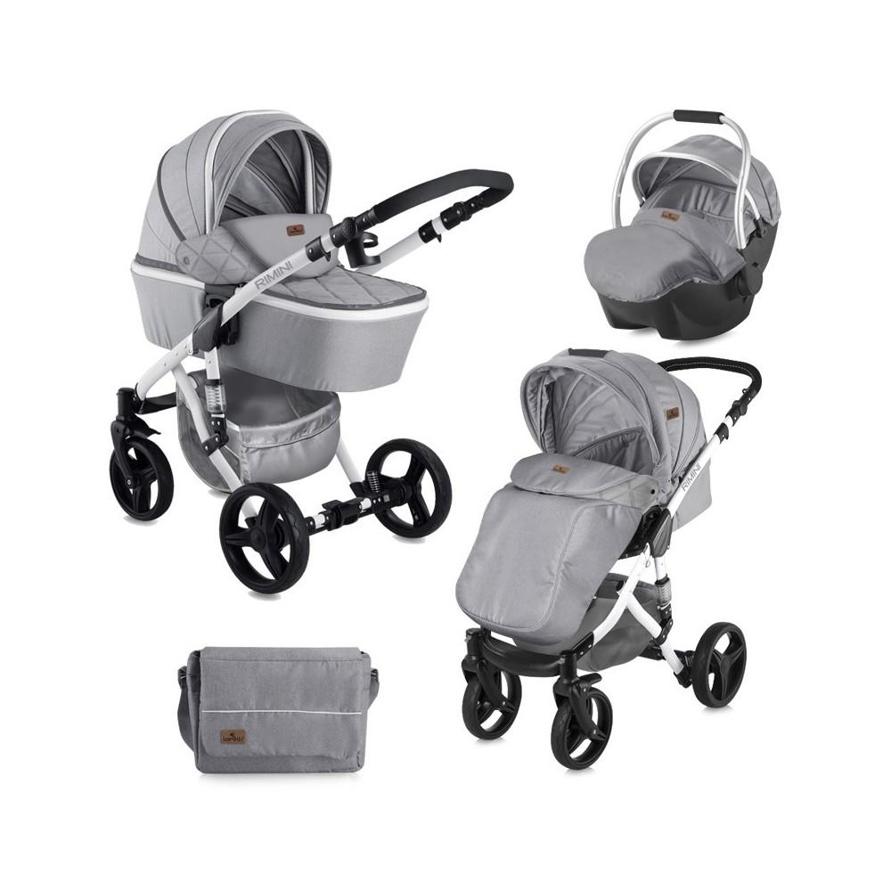 Παιδικό καρότσι RIMINI 3 σε 1 Grey Αναστρέψιμο με πόρτ μπεμπέ και κάθισμα αυτοκινήτου