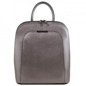 Women's Leather Backpack Grey