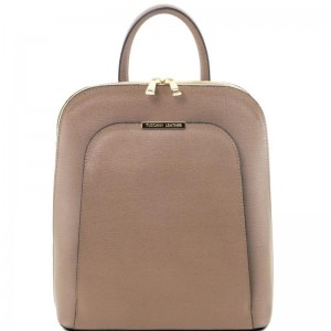 Women's Leather Backpack Beige
