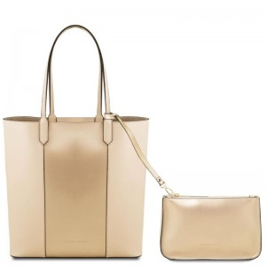 Women's Shoulder Bag Dafne Leather Beige