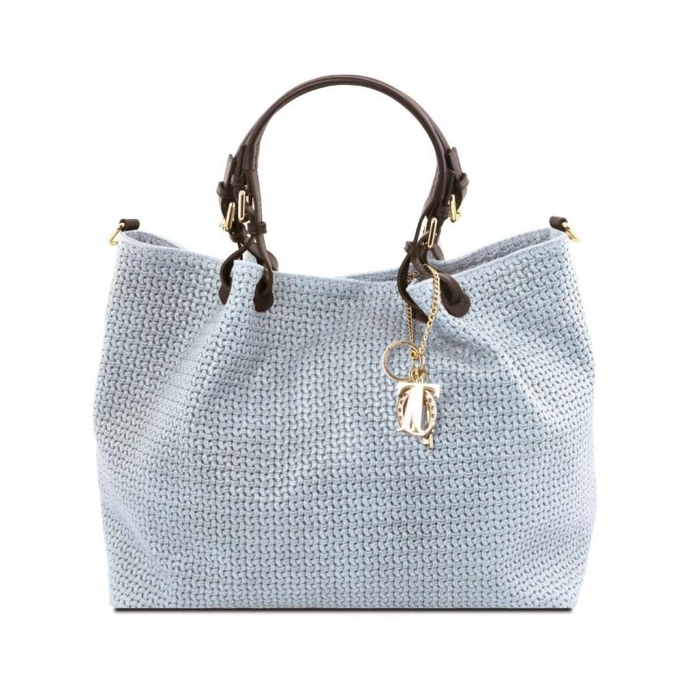 Women's Leather Bag  TL Keyluck Light Blue