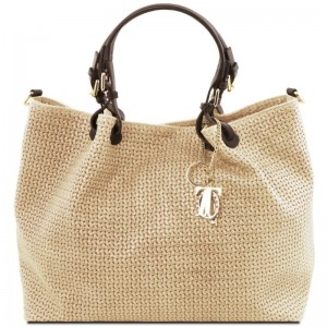 Women's Leather Bag TL Keyluck Beige