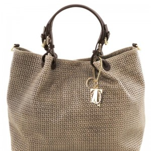 Women's Leather Bag TL Keyluck Dark gray striped