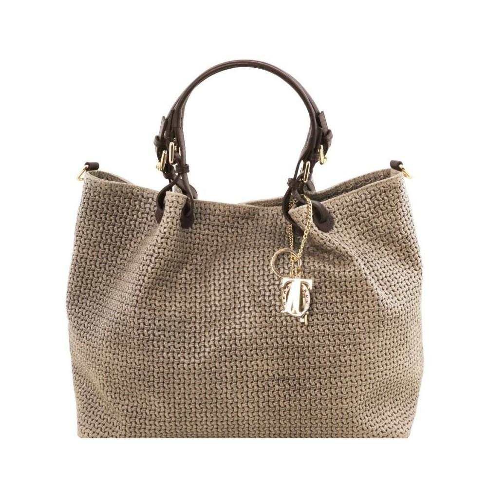 Women's Leather Bag TL Keyluck Dark gray striped